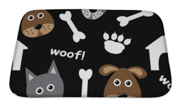 Bath Mat, Cartoon Pattern With Dogs