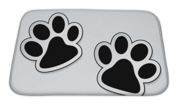 Bath Mat, Dog Pattern Animal Paw Prints Icons With Shadow Effect
