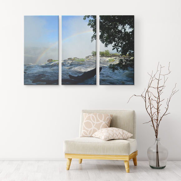 3 Panel Canvas Wall Decor - Rainbow Over Victoria Falls, Zambia