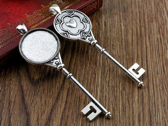 Antique Silver Heart Key Bezel Base Setting Pendant, 3pcs, 25mm