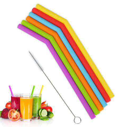 6 Pcs Reusable Silicone Drinking Straw Set With Cleaning Brush