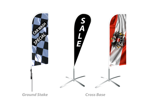 feather flag banners, outdoor signage