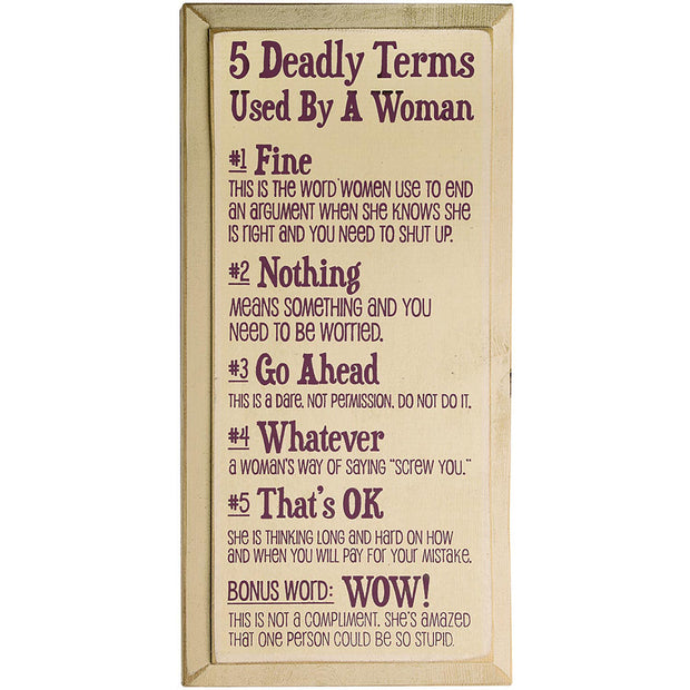 Deadly Terms Plaque