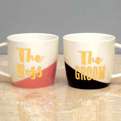 The Boss the Groom Mug Set