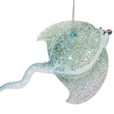 Seafoam Glitter Stingray Ornament