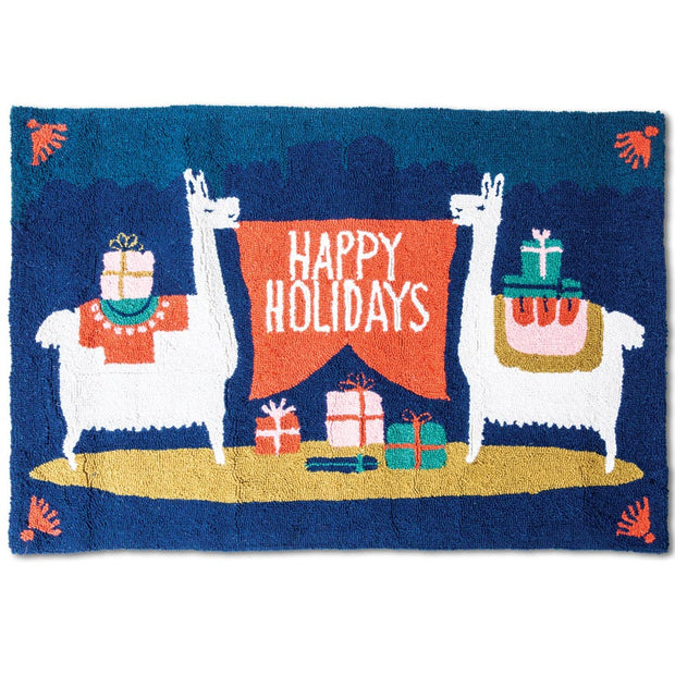 Happy Holidays Llama Hook Rug