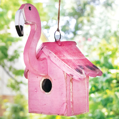 Recycled Wood Flamingo Birdhouse