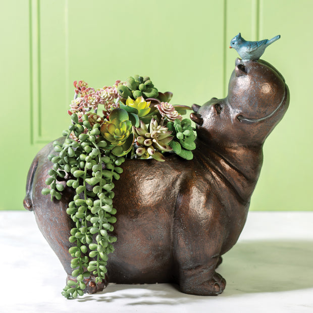Hippo With Bird Planter