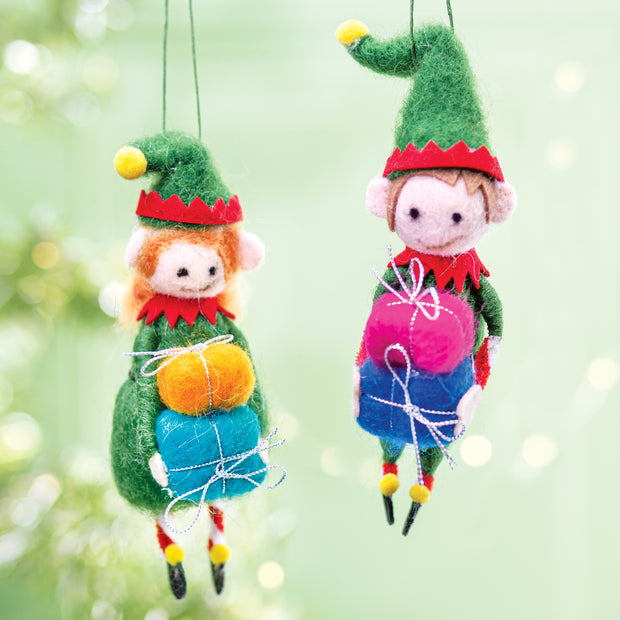 Santa's Elves Wool Ornament Set
