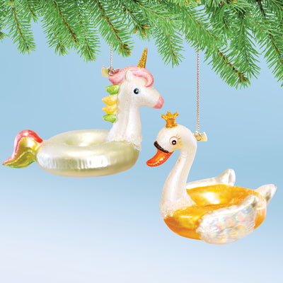 Swan and Unicorn Float Ornament Set