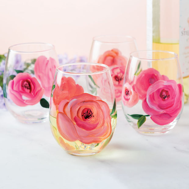 Hand Painted Rose Wine Glasses