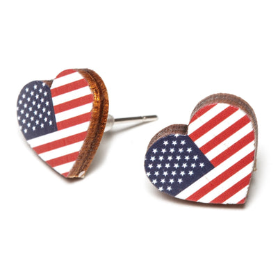 Flag Heart Shaped Earrings