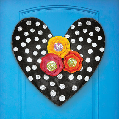 Polka Dot Heart with Flowers Door Hanger