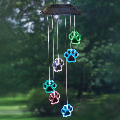 Paw Print Color Changing Solar Mobile