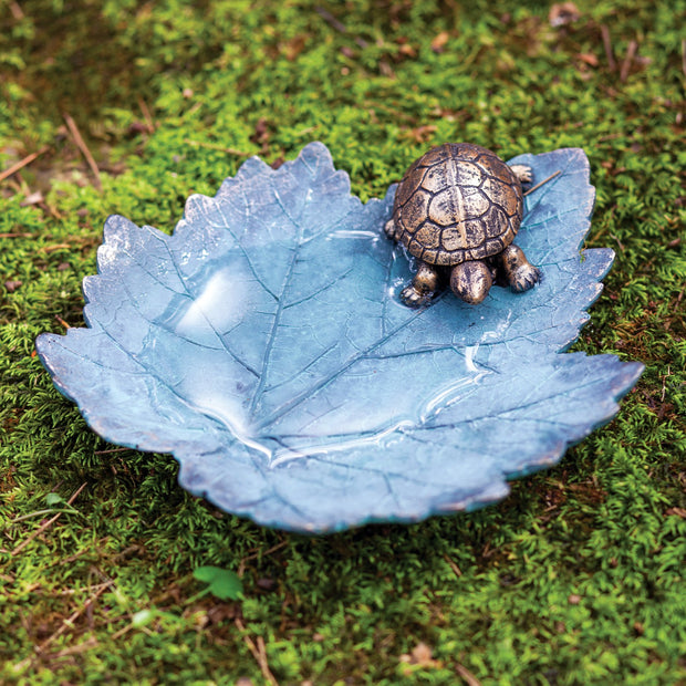 Turtle and Leaf Bird Bath