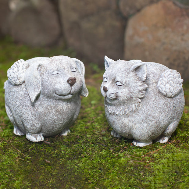 Pudgy Angel Dog Statue