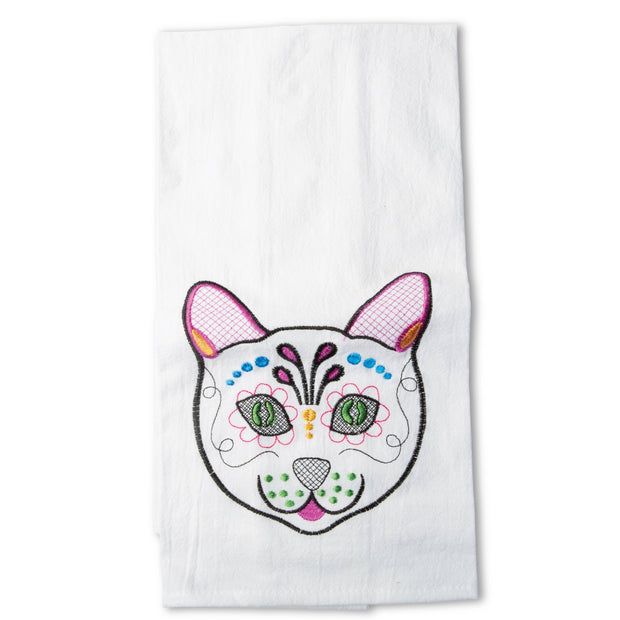 Day Of The Dead Cat Tea Towel