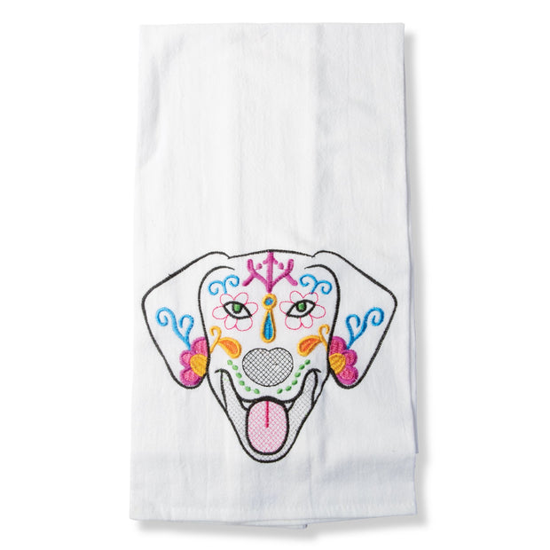 Day Of The Dead Dog Tea Towel