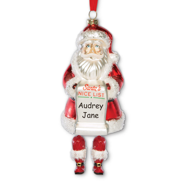 Santa's Nice List Glass Ornament