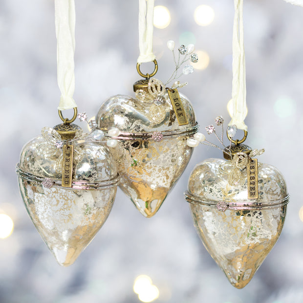 Love Hinged Glass Heart Ornament