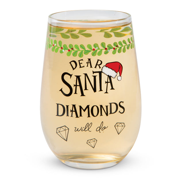 Dear Santa Diamonds Wine Glass