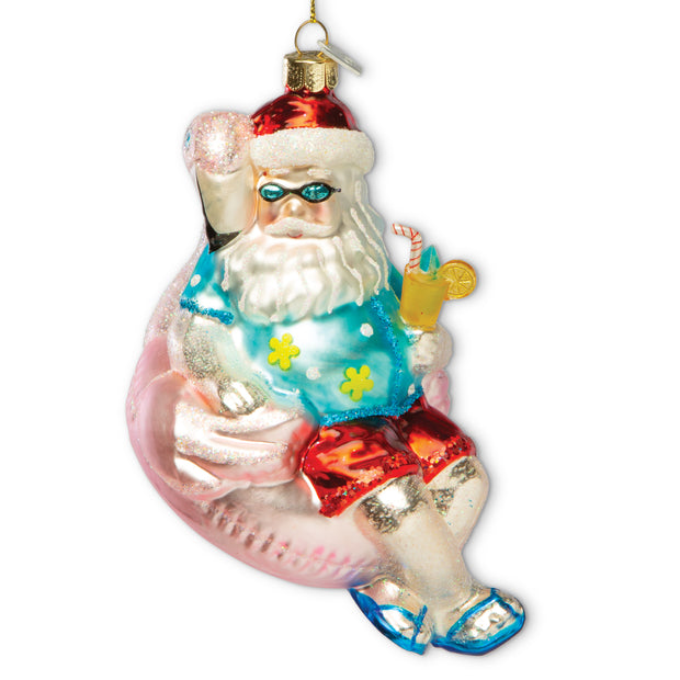 Santa Flamingo Floatie Ornament