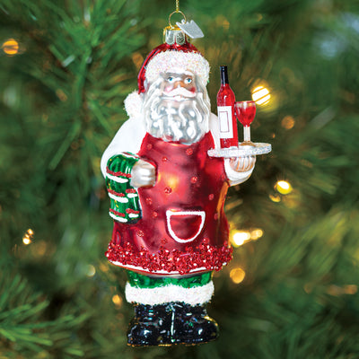 Wine Server Santa Ornament