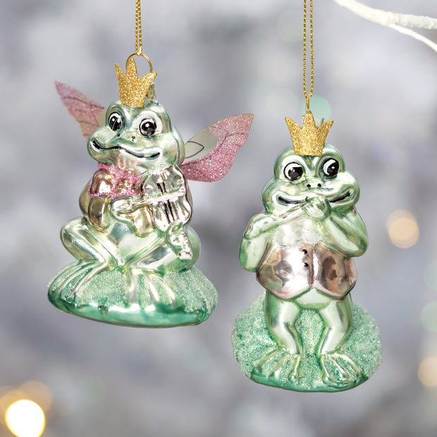 Green Frog Ornaments Set