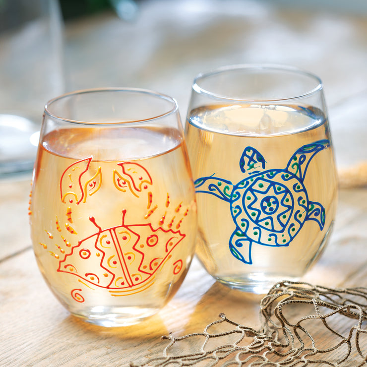 Red Crab Stemless Glass