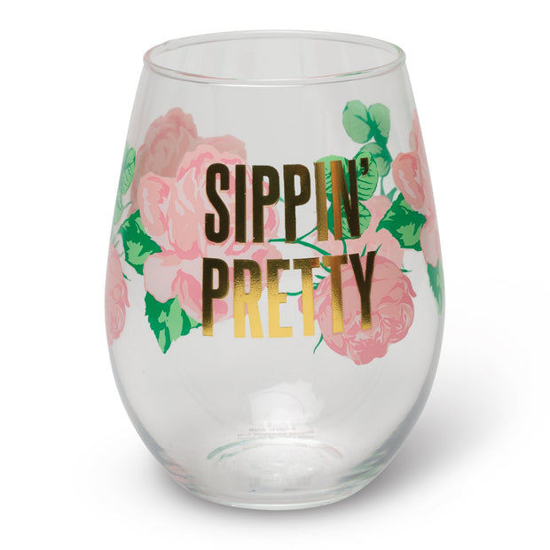 Sippin' Pretty Wine Glass