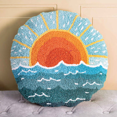 Circular Sun Seascape Pillow