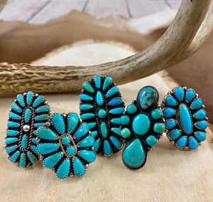 Turquouise Native American Made Cluster Rings