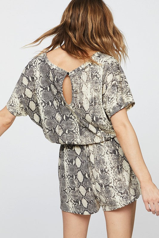 The Whitehouse Road Snakeskin Romper - Ny Texas Style Boutique