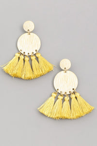 The Kayla Fringe Earrings (Yellow) - Ny Texas Style Boutique