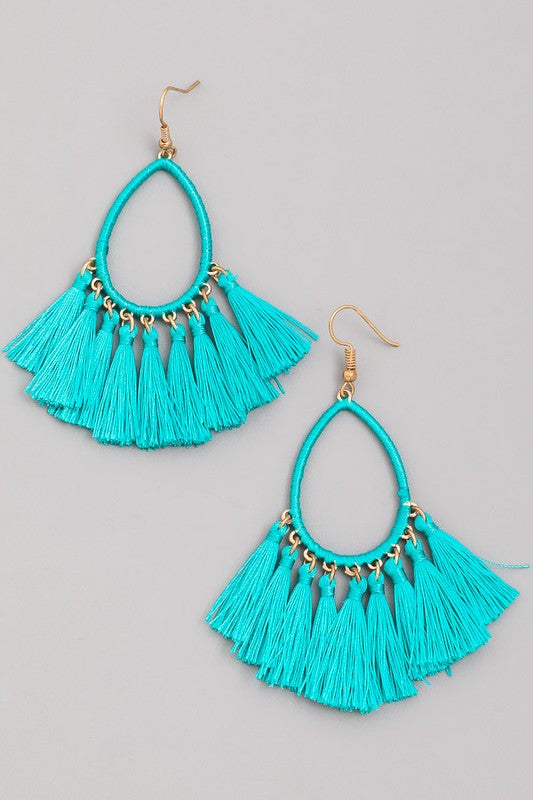 The Turquoise Fringe Earrings - Ny Texas Style Boutique