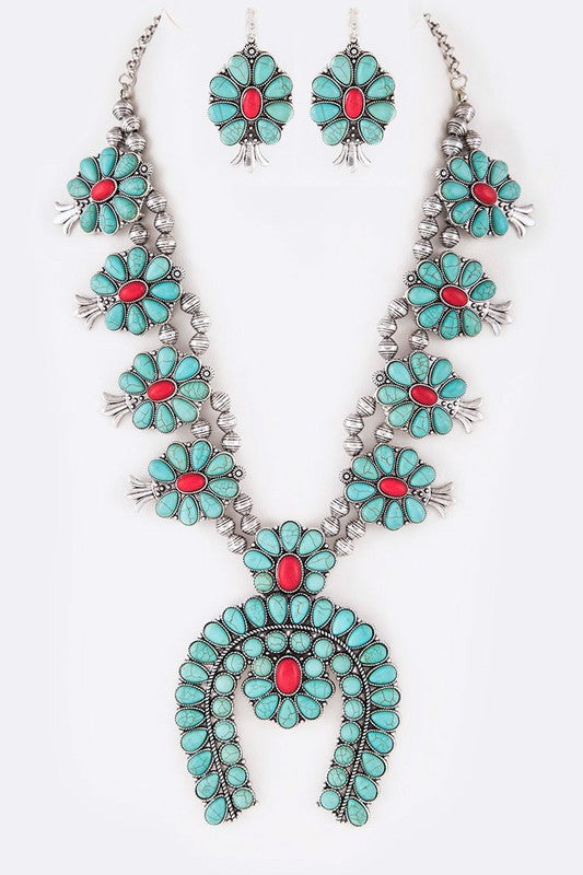 The Turquoise & Coral Squash Blossom - Ny Texas Style Boutique