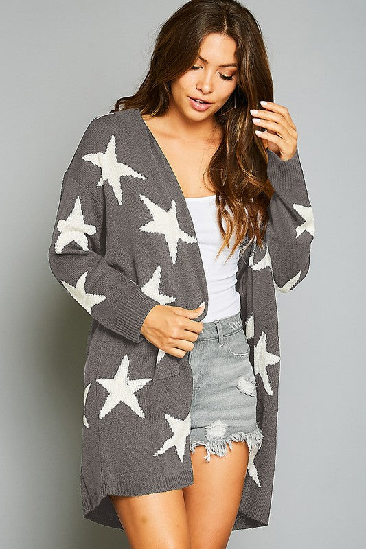 The Melanie Star Print Cardigan - Ny Texas Style Boutique