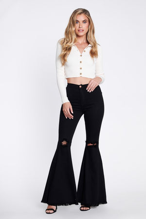 The Zeppelin Distressed Black Jeans - Ny Texas Style Boutique