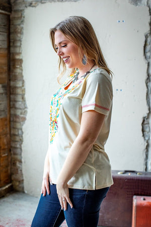 THE IVORY EMBROIDERED V-NECK TOP