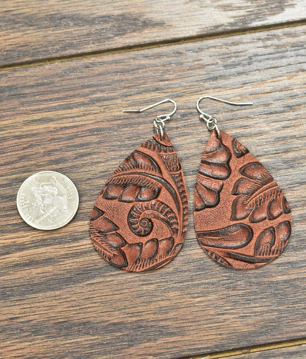 The Tooled Leather Earrings - Ny Texas Style Boutique