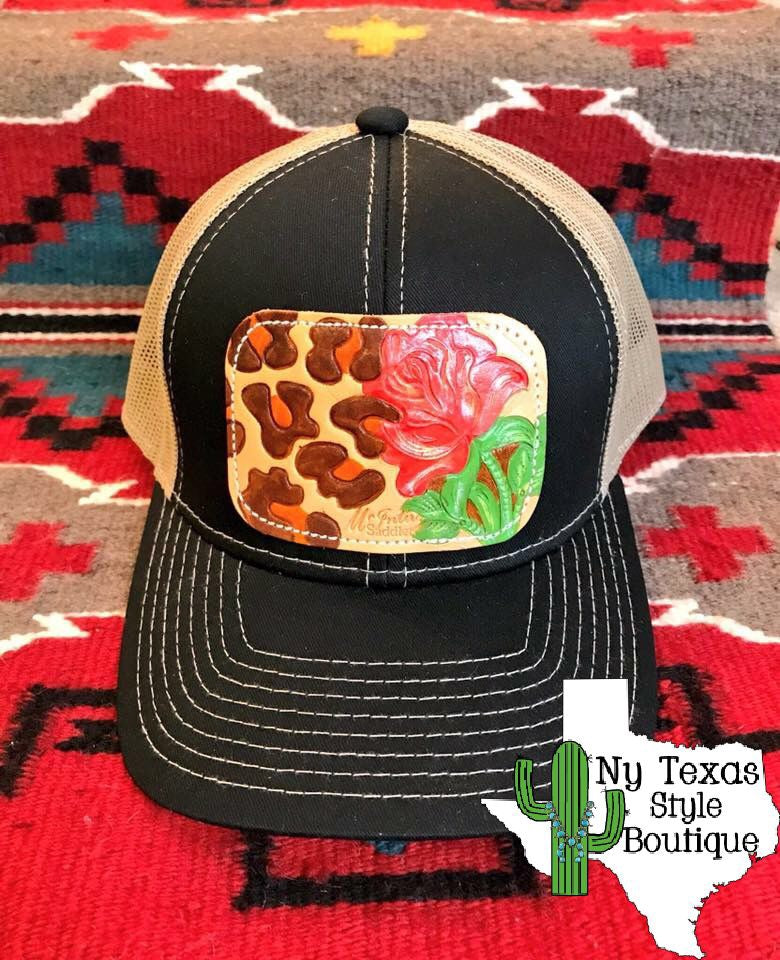 Wild Roses leather cap - Ny Texas Style Boutique