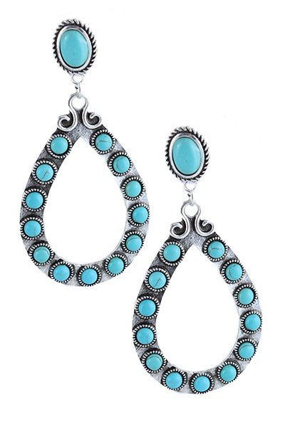 The Rio Bravo Turquoise Teardrop Earrings - Ny Texas Style Boutique