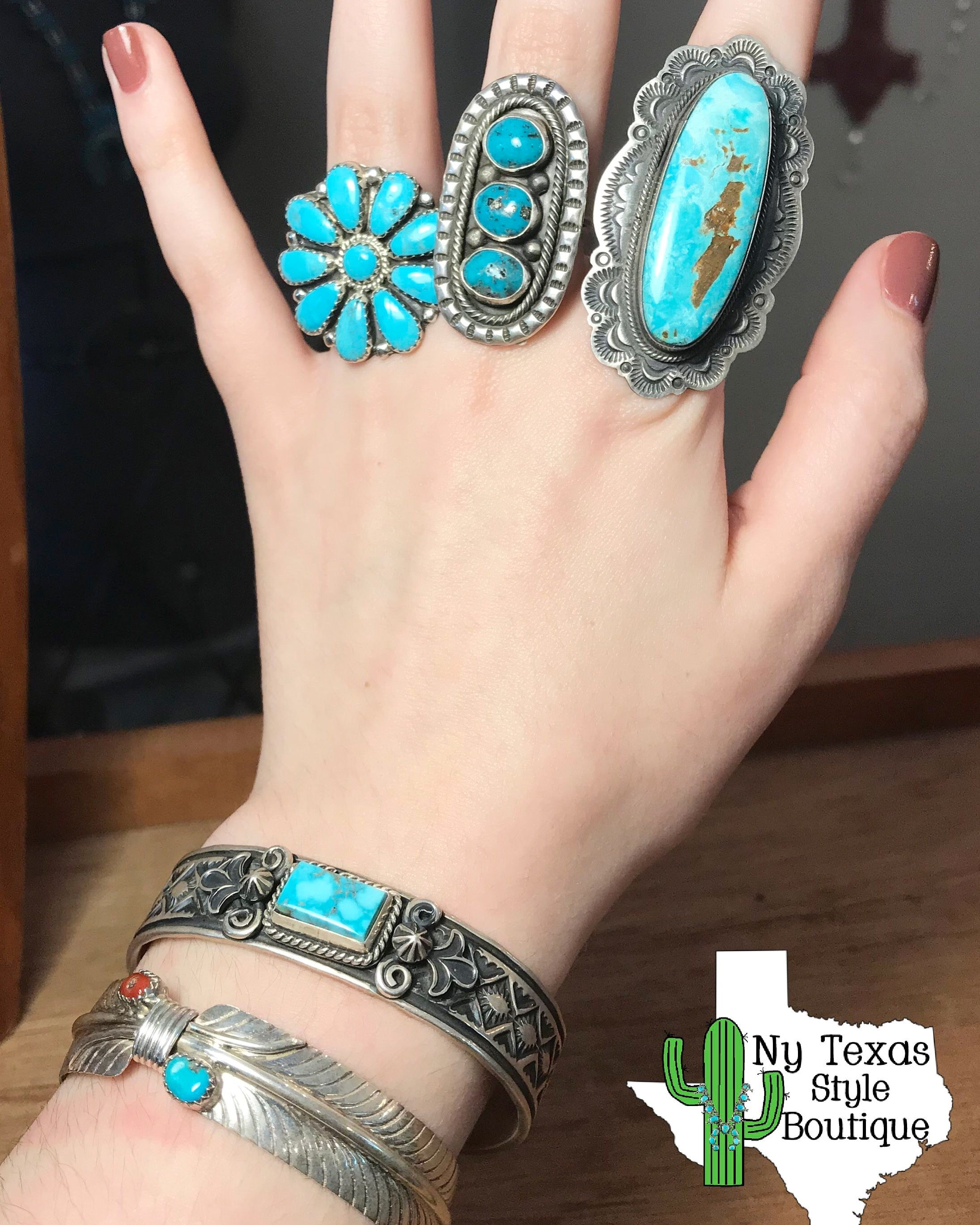 The Neon Moon turquoise rings - Ny Texas Style Boutique