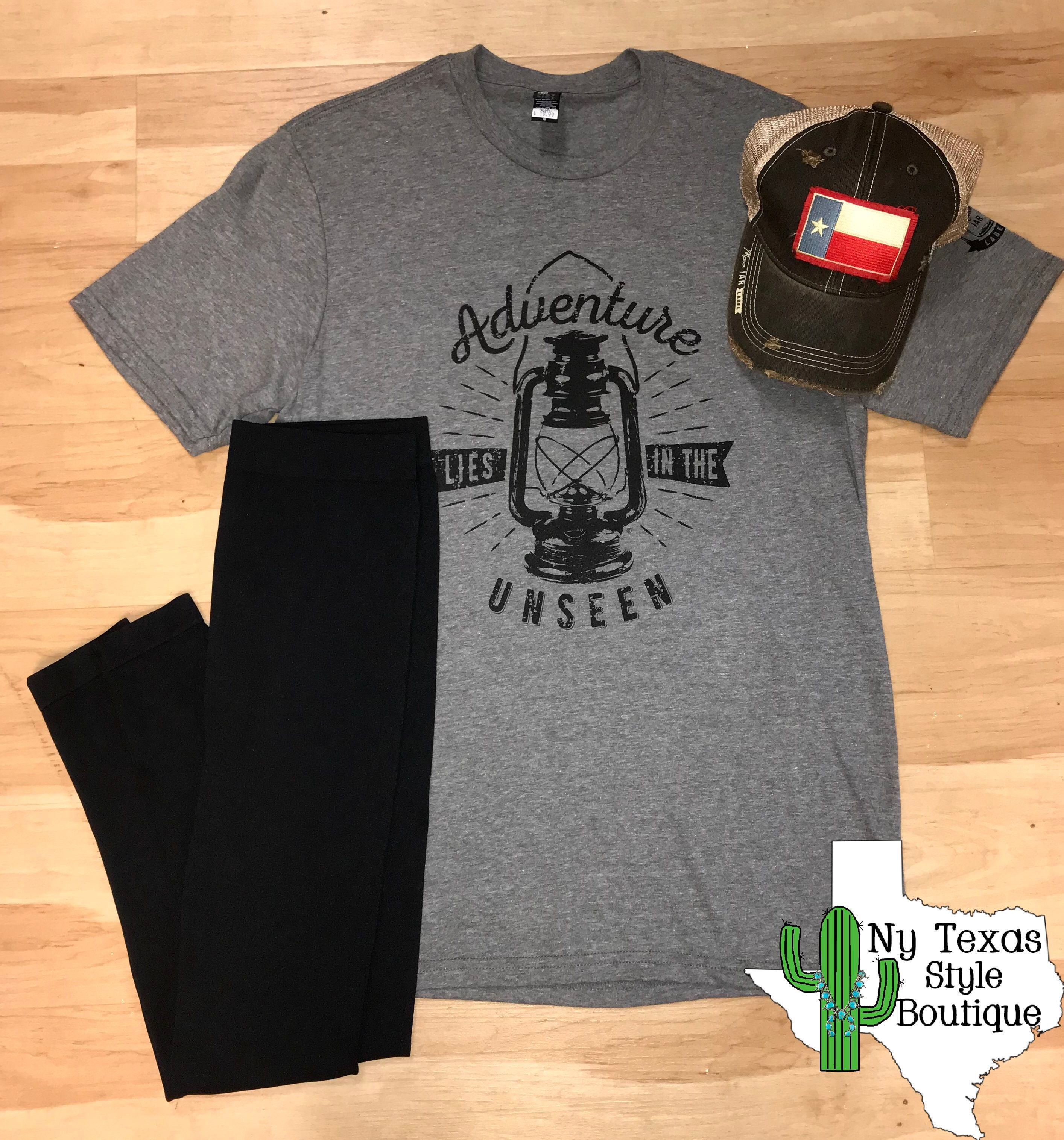 Adventure Lies In the Unseen tee - Ny Texas Style Boutique
