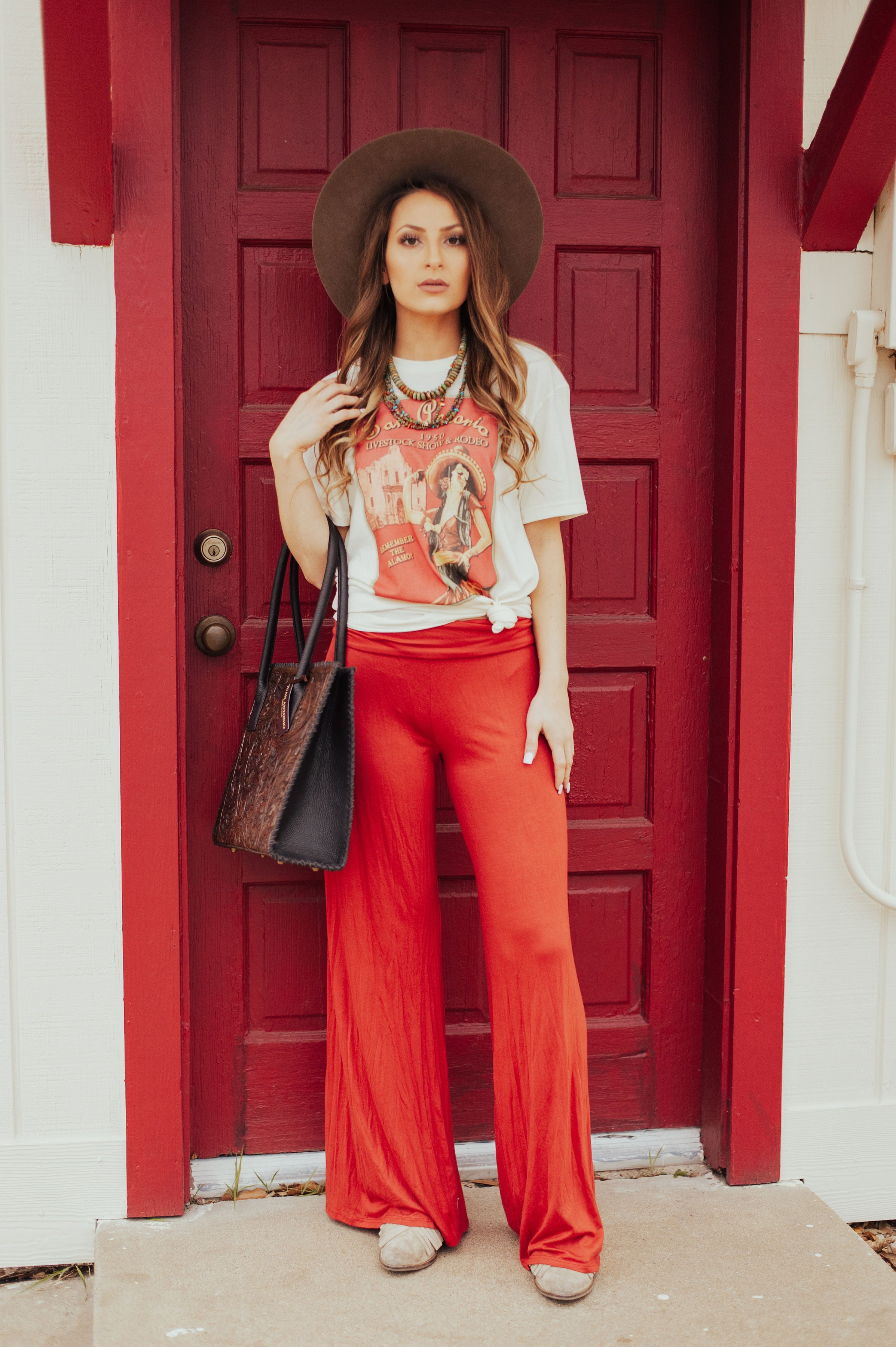 The Midland Wide Palazzo Pant (Rust) - Ny Texas Style Boutique