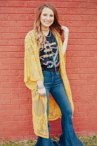 Mustard Lace Duster - Ny Texas Style Boutique