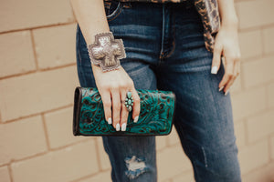 Ole Juan Turquoise Tooled Leather Wallet - Ny Texas Style Boutique