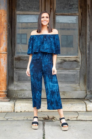 The Navy Blue Tie Dye Off The Shoulder Jumpsuit - Ny Texas Style Boutique