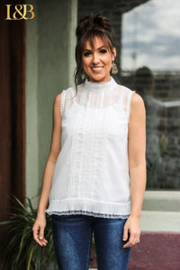 THE IVORY Sleeveless Top WITH Ruffle Trim - Ny Texas Style Boutique