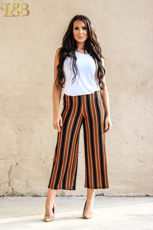 THE ORANGE & NAVY STRIPE CROP PANTS - Ny Texas Style Boutique
